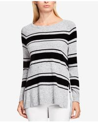 Vince Camuto | Gray Striped High-low Sweater | Lyst