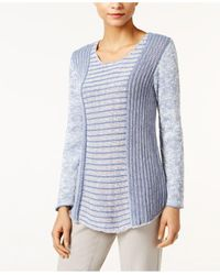 Style & Co. | Blue Marled Colorblocked Sweater | Lyst