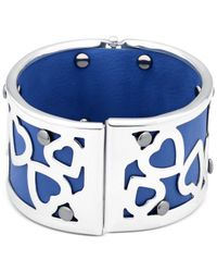 Guess - Metallic Rose Gold-tone And White Faux Leather Wide Heart Bangle Bracelet - Lyst