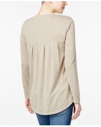 Style & Co. - Natural Stud-heart Pleated Top - Lyst