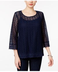 Style & Co. | Blue Bell-sleeve Lace Top | Lyst