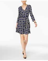 INC International Concepts | Blue Printed Wrap Dress | Lyst