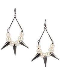INC International Concepts | Gray Hematite-tone Imitation Pearl And Spike Chandelier Earrings | Lyst