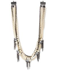 INC International Concepts | Gray Hematite-tone Imitation Pearl And Chain Spike Statement Necklace | Lyst