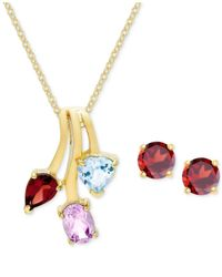 Macy's | Metallic 18k Gold-plated Sterling Silver Triple-stone Pendant Necklace And Stud Earrings Set | Lyst