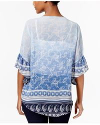 Style & Co. - Blue Petite Mixed-print Pintucked Blouse - Lyst