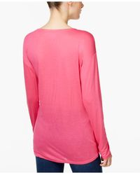INC International Concepts - Pink Knotted Top - Lyst