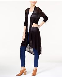 Style & Co. | Black High-low Duster Cardigan | Lyst