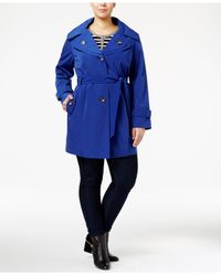 London Fog | Blue Plus Size Hooded Double-collar Trench Coat | Lyst