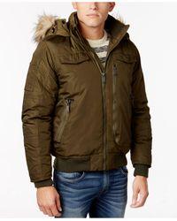 Ben Sherman   Green Men's Hooded Bomber Jacket With Faux-fur Trim for Men   Lyst