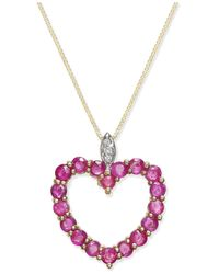 Macy's | Metallic Ruby (1-3/4 Ct. T.w.) And Diamond Accent Heart Pendant Necklace In 14k Gold | Lyst