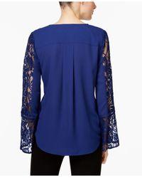 INC International Concepts | Blue Lace-inset Surplice Top | Lyst