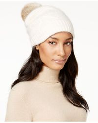 Surell - White Slouchy Knit Rabbit Fur Pom Beanie - Lyst