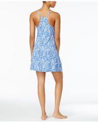 Lucky Brand | Blue Lace-trimmed Printed Knit Nightgown | Lyst