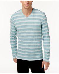 Alfani | Green Men's V-neck Striped Sweater for Men | Lyst