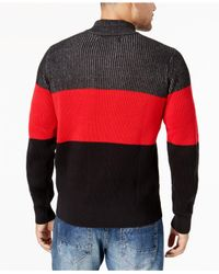 Sean John - Black Men's Colorblocked Plated-knit Sweater for Men - Lyst