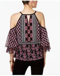 INC International Concepts | Multicolor Printed Cold-shoulder Peasant Top | Lyst