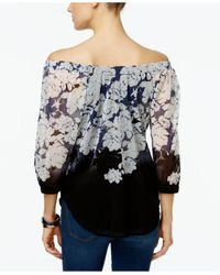 INC International Concepts - Multicolor Printed Off-the-shoulder Peasant Top - Lyst
