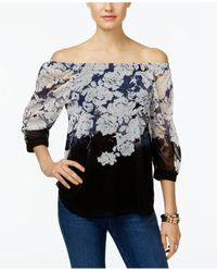 INC International Concepts | Multicolor Printed Off-the-shoulder Peasant Top | Lyst