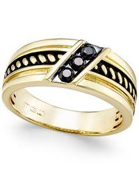 Macy's   Metallic Men's Diamond Antique-look Three-stone Band (1/4 Ct. T.w.) In Black Enamel And 10k Gold for Men   Lyst