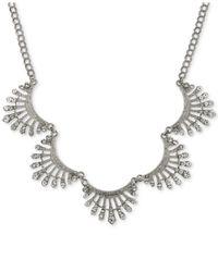 2028 - Metallic Silver-tone Crystal Pavé Scalloped Collar Necklace - Lyst