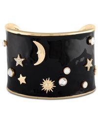 RACHEL Rachel Roy - Metallic Gold-tone Epoxy Crystal Celestial Wide Cuff Bracelet - Lyst