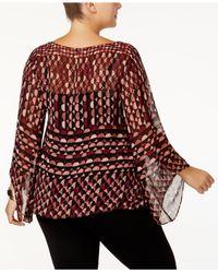 Alfani - Red Plus Size Printed Angel-sleeve Top - Lyst