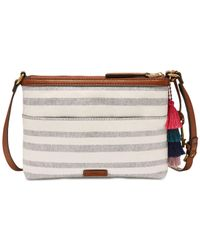 Fossil - Gray Fiona Printed Small Fabric Crossbody - Lyst