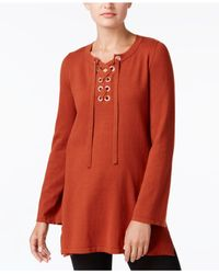 Style & Co. - Red Lace-up Tunic Sweater - Lyst