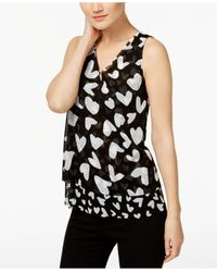 INC International Concepts | Black Embellished Tiered Top | Lyst