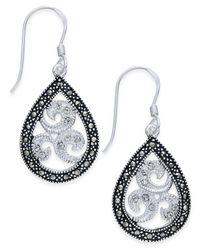 Macy's - Metallic Marcasite & Crystal Filigree Teardrop Earrings In Silver-plate - Lyst