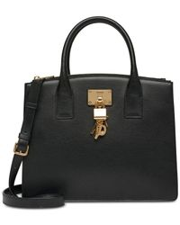 DKNY - Black Elissa Pebbled Split With Charm Detail Large Satchel, Created For Macy's - Lyst