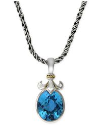 Effy Collection - Blue Topaz (6-1/5 Ct. T.w.) Fleur De Lis Pendant Necklace In 18k Gold And Sterling Silver - Lyst