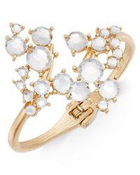 INC International Concepts - Metallic Gold-tone Crystal Cluster Hinged Bangle Bracelet - Lyst