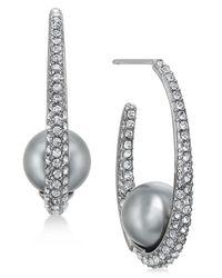 Danori - Multicolor Hematite-tone Pavé & Gray Imitation Pearl Hoop Earrings - Lyst