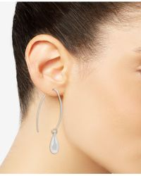 Touch Of Silver - Metallic Linear Pull-thru Earrings In Silver-plated Mixed Metal - Lyst