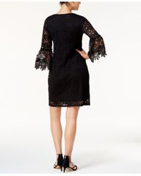 Alfani - Black Lace Bell-sleeve Dress - Lyst