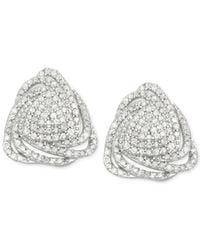 Wrapped in Love - Metallic Diamond Triangle Floral Stud Earrings (1 Ct. T.w.) In Sterling Silver - Lyst