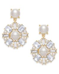 Charter Club - Metallic Gold-tone Imitation Pearl & Crystal Drop Earrings - Lyst