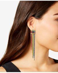 RACHEL Rachel Roy - Metallic Gold-tone Multi-stone Beaded Fringe Drop Earrings - Lyst