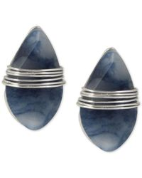 Robert Lee Morris - Metallic Silver-tone Blue Stone Wrapped Stud Earrings - Lyst