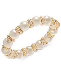 Charter Club - Metallic Gold-tone Imitation Pearl Stretch Bracelet, Created For Macy's - Lyst