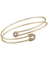 RACHEL Rachel Roy - Metallic Gold-tone Pavé Safety Pin Wrap Bangle Bracelet - Lyst