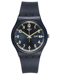 Swatch - Black Unisex Swiss Sir Blue Blue Silicone Strap Watch 34mm Gn718 - Lyst