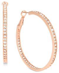 Hint Of Gold - Metallic Crystal Inside Out Hoop Earrings In 14k Rose Gold-plated Metal - Lyst