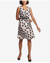 Tommy Hilfiger - Black Floral-printed Belted Fit & Flare Dress - Lyst