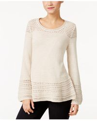 Style & Co. | Natural Knit-pattern Bell-sleeve Sweater | Lyst