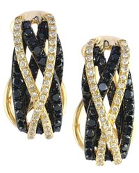 Effy Collection - Caviar By Effy Black (3/4 Ct. T.w.) And White (1/4 Ct. T.w.) Diamond Crossover Earrings In 14k Gold - Lyst