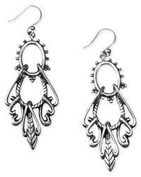 Lucky Brand | Gray Earrings, Silver-tone Open Drop | Lyst