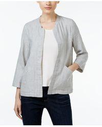 Eileen Fisher | Gray Open-front Mandarin-collar Jacket | Lyst